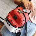 2016 nuevo verano de avestruz borla mochila multiusos bolsa Mochila Estudiante Coreano de color remache bolsa de hombro envío gratis