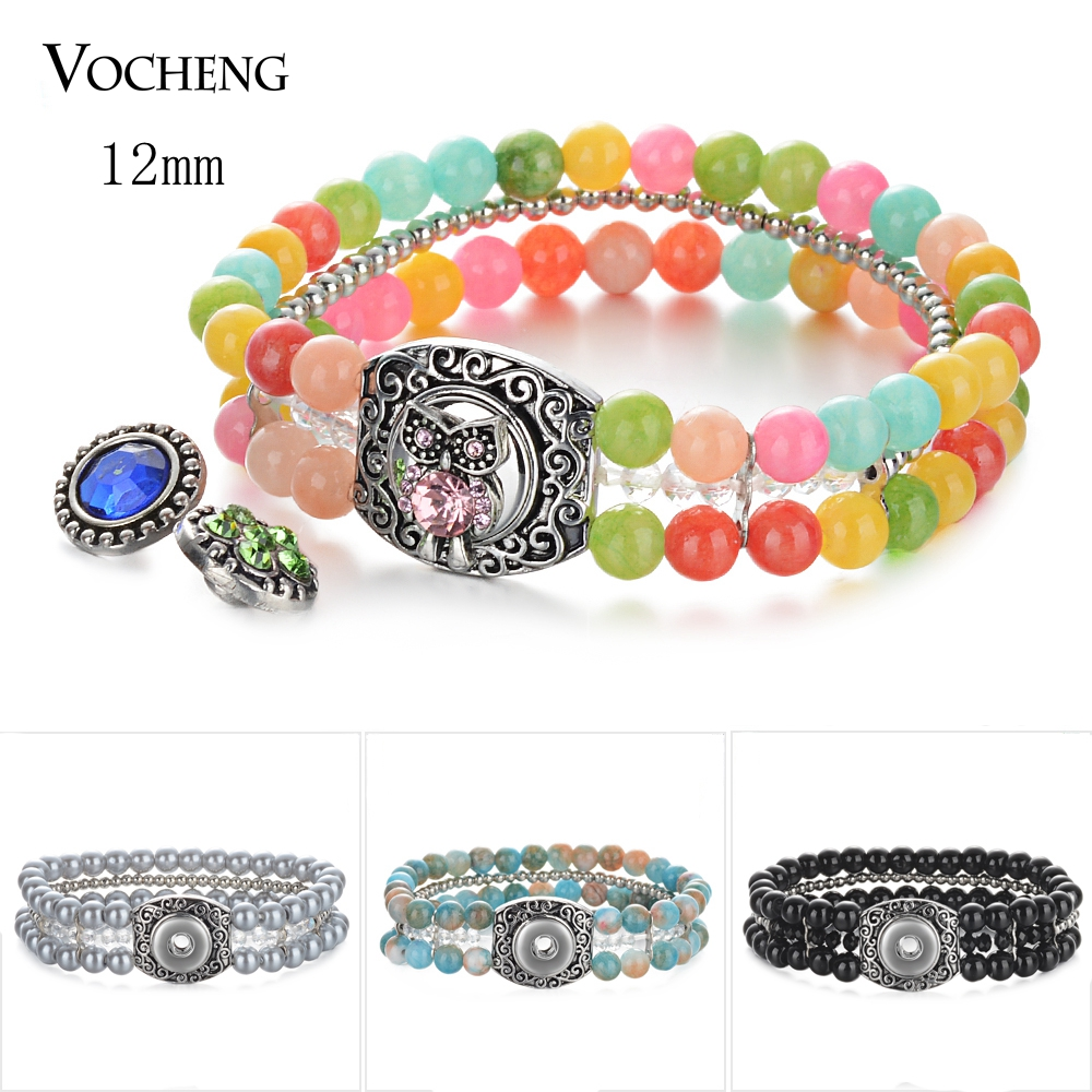 10pcs/lot Vocheng <font><b>Snap</b></font> Charms Bracelet Ginger <font><b>Snap</b></font> <font><b>Jewelry</b></font> Beads Bracelet for <font><b>12mm</b></font> <font><b>Snap</b></font> <font><b>Button</b></font> 5 Colors NN-644*10 image