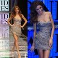 Sexy Miranda Kerr una correa encima de la rodilla de capas inferiores con la borla del grano de cristal de lujo cortos vestidos del desfile