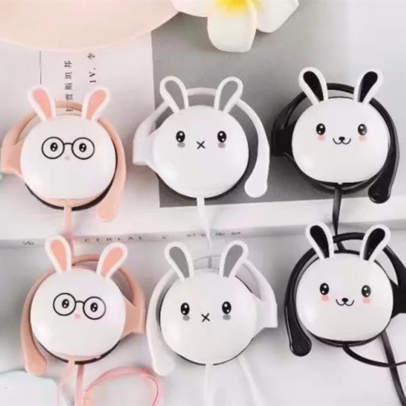 Cute Rabbit Stereo ear hook Earphone Headphone with Mic 3.5mm Sports Headset for Students Girls Kids iphone Xiaomi Mp3 Gifts