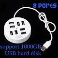 Circular 8 Puertos USB Hub, 60 cm Longitud Del Cable de Alta Velocidad USB 2.0 Divisor Adaptador de Ordenador Accesorios para portátiles PC Portátil
