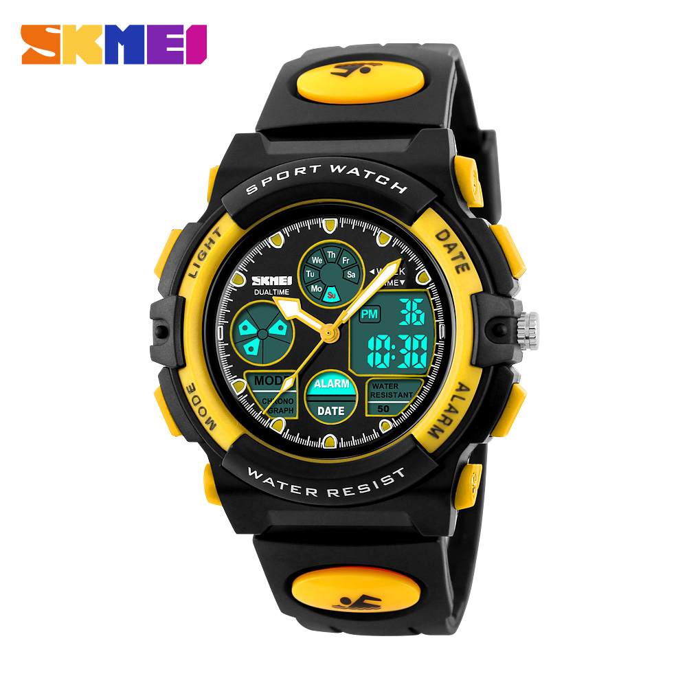 <font><b>SKMEI</b></font> <font><b>1163</b></font> Kids Sports Watches Children For Girl/Boys Waterproof Military Dual Display Wristwatches Double Time Waterproof Watch image