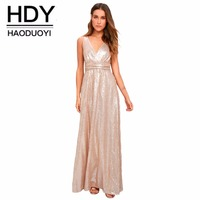 HDY Haoduoyi Brand Autumn 2018Women Pink Sequin Sexy Maxi Dress Deep V Neck Sleeveless Female Party