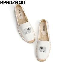 chinese white canvas shoes round toe espadrilles women bee applique breathable flats large size hemp loafers slip on beautiful