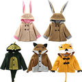 2016 Winter Kids Baby Girls Boys Rabbit Bunny Dinosaur Fox Lion Shapes Coat Jacket Outwear