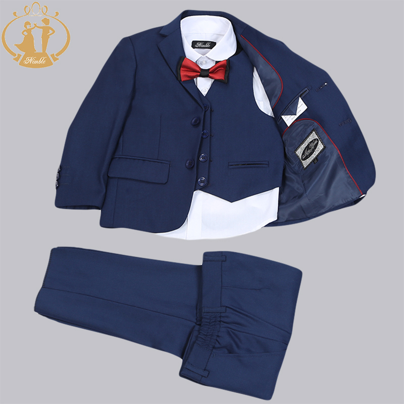 Nimble Brand Navy Blue Red New Formal Boy Suits  for Wedding kids Blazer Set Jacket Pant Vest 3 Pieces Party Suit 2016 new arrival fashion baby boys kids blazers boy suit for weddings prom formal wine red white dress wedding boy suits