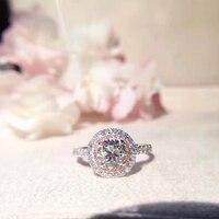 ANI 18K White Gold AU750 Women Wedding Ring Certified H VS 1CT Real Diamond Luxury Engagement