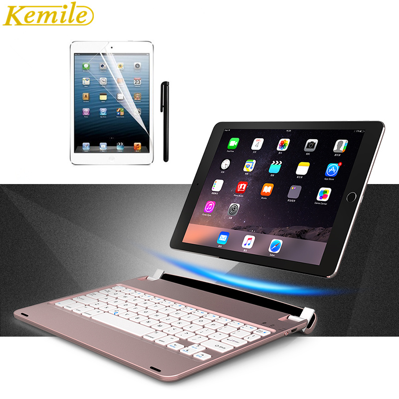 Kemile For ipad pro 9 .7 Wireless Bluetooth Keyboard Folios Case Cover For Apple iPad Air 2 Keypad for iPad 2018 9.7 inch for ipad 2018 2017 air air 2 pro 9 7 inch case with backlit bluetooth keyboard full body cover
