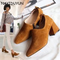 NAYIDUYUN Women S Suede Leather Ankle Boots Mid Cuban Heel Oxfords Western Cowboy Boots Shoes US
