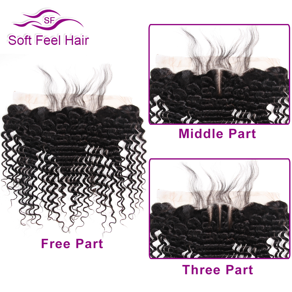 Soft Feel Hair Peruvian Deep Wave Hair 3 Bundles With Frontal Human Hair Lace Frontal Closure With Bundles Remy Extensions 4 Pcs