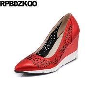 3 Inch Red Golden Size 33 Sandals Casual Gold Pumps Shoes Wedge Pointed Toe Genuine Leather Cool 4 34 High Heels Hollow Out