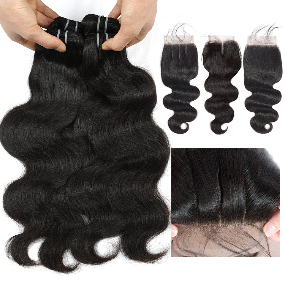 QueenLike Body Wave Bundles With Closure 100 Human Hair Weave Non Remy 3 4 Bundles Malaysian