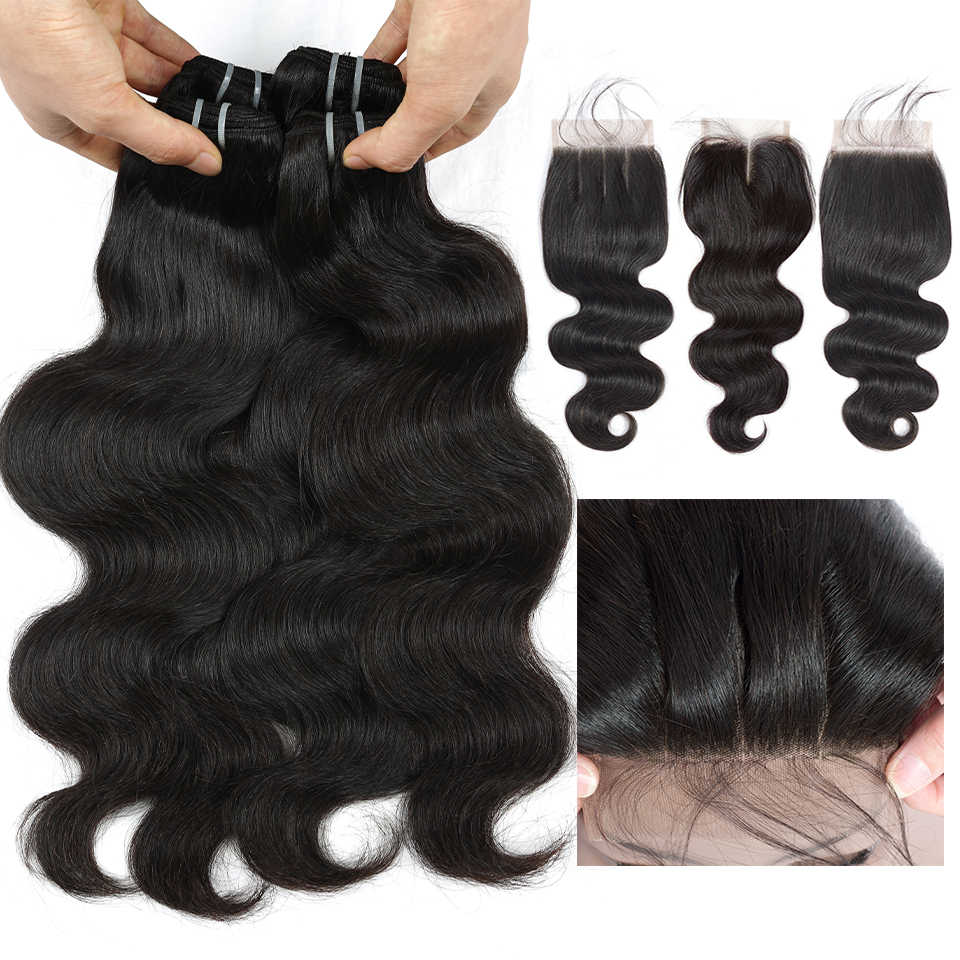 QueenLike Body Wave Bundles With Closure 100% Human Hair Weave Non Remy 3 / 4 Bundles Malaysian Hair Bundles With Closure
