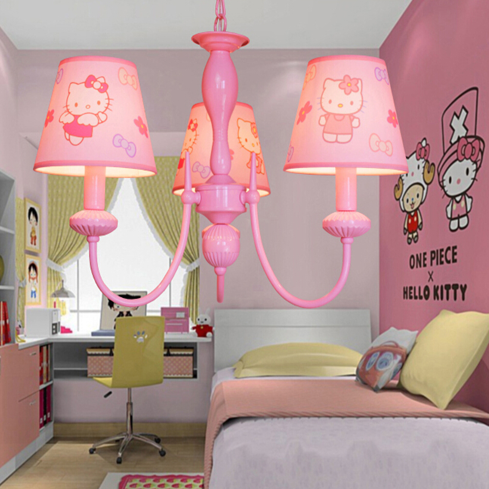 ФОТО High Quality Cartoon Led Pink Chandelier Suspension Kids Room  110V-220V E14  Led Chandelier Flower Modern Lighting Fixture