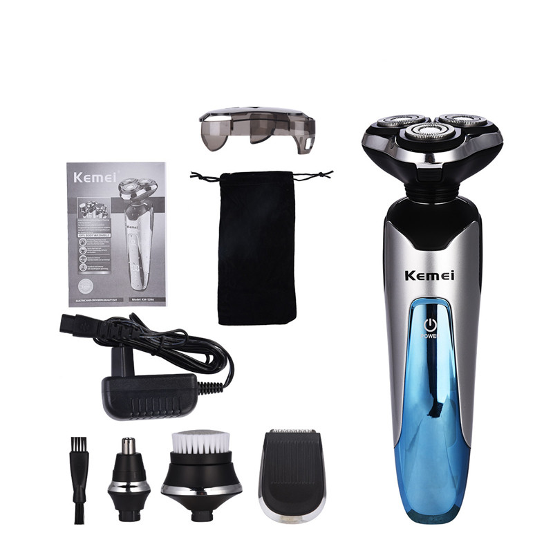 Kemei 4 in 1 Waterproof Electric Shaver Beard Trimmer Rechargeable Razor Men Shaving Machine Nose Trimmer Men Hair Removal Tool men hair removal women shaver with pivoting head male mustache beard eyebrow hair trimmer shaver machine safe lighted epilator