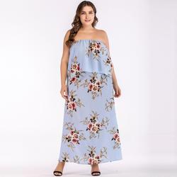 Плюс Размеры Для женщин шифон комплект из двух предметов Топ с длинным юбка с цветочным принтом бандо оборчатым накладным элементом