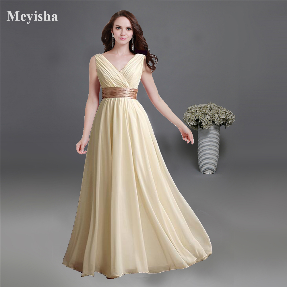 ZJ0141 champagne chiffon sexy sweetheart party   dress   new   bridesmaid     dresses   long plus size maxi 2015 new arrival V neck