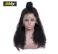 Ably Curly Human Hair Wig Brazilian 360 Lace Frontal Wigs For Black Women Natural Color Pre Plucked With Baby Hair Remy Lace Wig