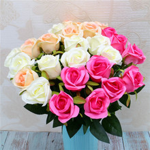 Junsum Artificial Flowers Silk Roses Fake Bridal Wedding Bouquet for Home Garden Party Floral Decor 10 PCS/lot