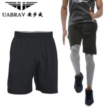 UABRAV Black Men Running Short Sport Clothing Quick Dry Breathable Pocket Soccer Tennis Gym Training Outdoor