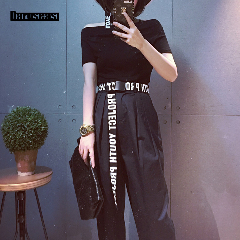 trend Male and female general Solid Color Canvas   belt   Leisure Wild jeans Smooth buckle Korean Style Letter Wide   belt