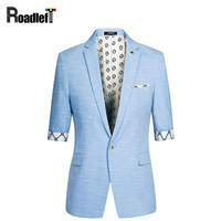 Male Half Short Sleeve Slim Fit Thin Blazer Men S Prom Stage Wear Casual Suits Jacket