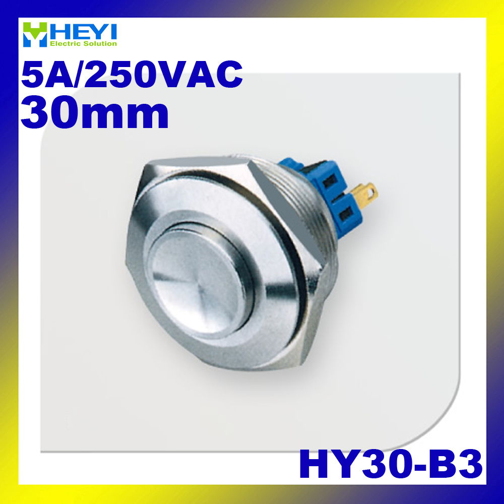 цена на Stainless HY30-B3 1NO 1NC momentary/self-locking High flush head switch 5A/250VAC with pin