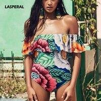LASPERAL 2017 Off Shoulder One Piece Swimsuit Sexy Women Ruffle Floral Print Bikini Sets Women Bathing