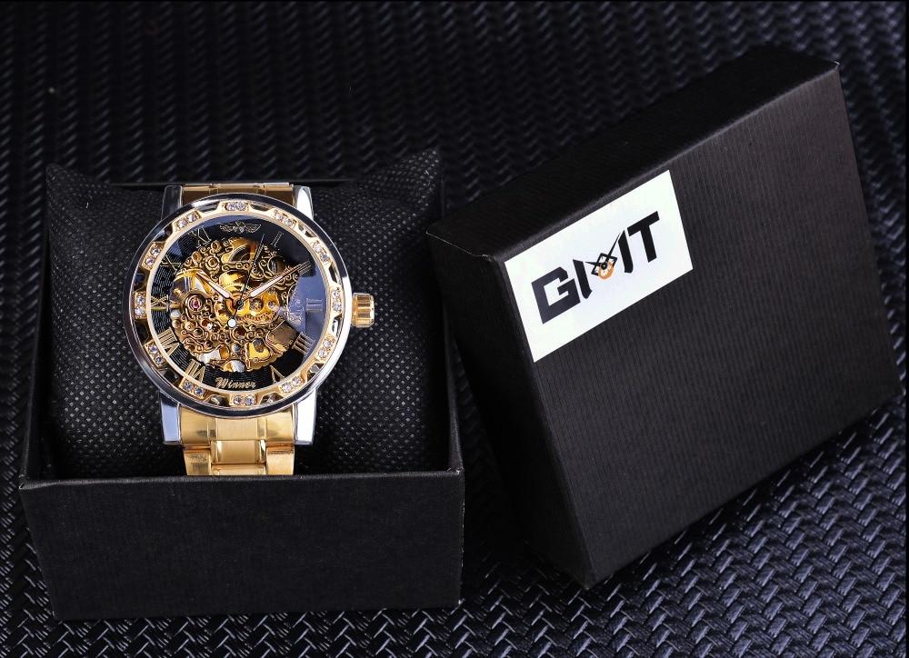 HTB1jK5haBWD3KVjSZKPq6yp7FXaV Winner Golden Watches Classic Rhinestone Clock Roman Analog Male Skeleton Clocks Automatic Mechanical Stainless Steel Band Watch