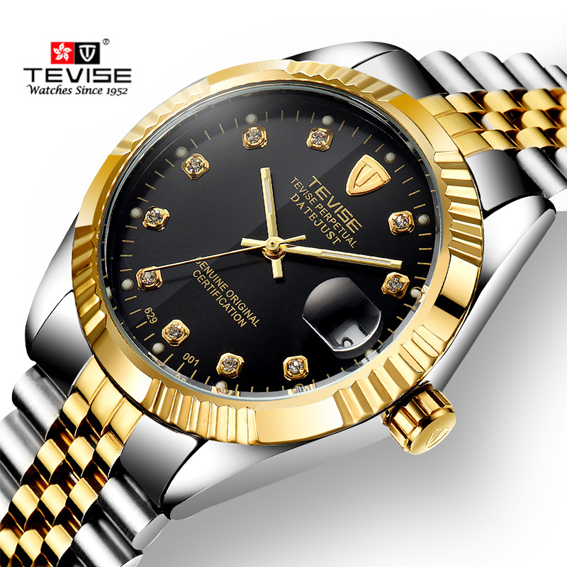 TEVISE Luxury Men Mechanical Watch Classic Date automatic Mechanical Watch Self-Winding Diamond full steel Strap Wrist Watch купить недорого в Москве