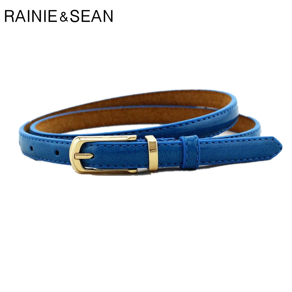 RAINIE SEAN Belts For Women Waist Belt Thin Pin Buckle Leather Ladies Belts For Dresses Female Cheap Fashion Accessories Camel