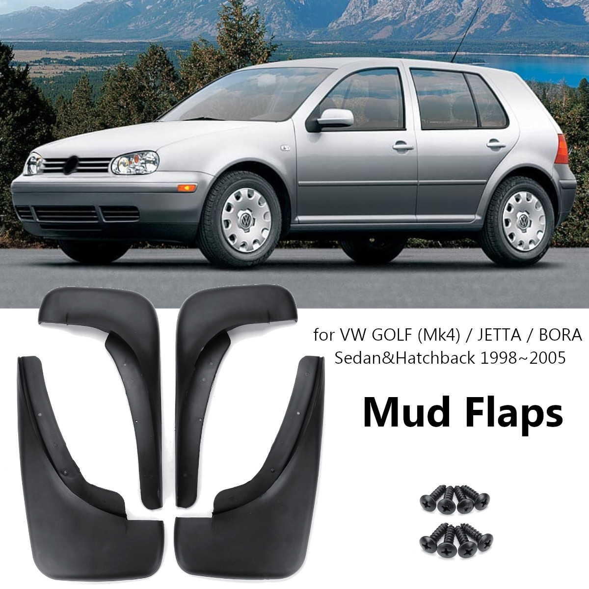 4 X NEW QUALITY WIDE MUDFLAPS TO FIT VW Beetle UNIVERSAL fit
