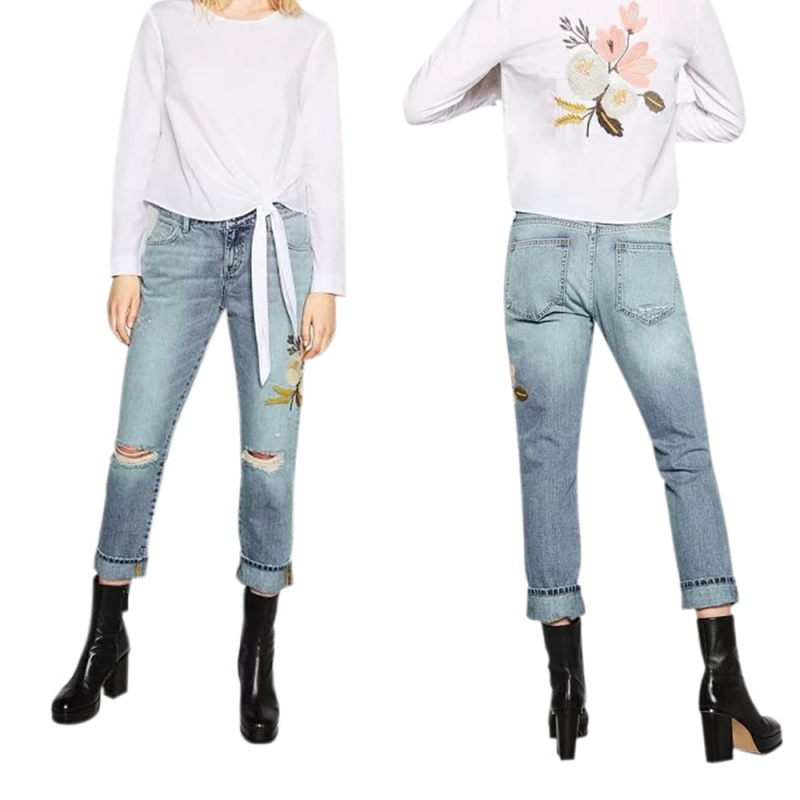 Women Low Waist Pencil Pants Flower Printed Embroidery Decorated Blue Denim Pants Pencil Casual Jeans Straight