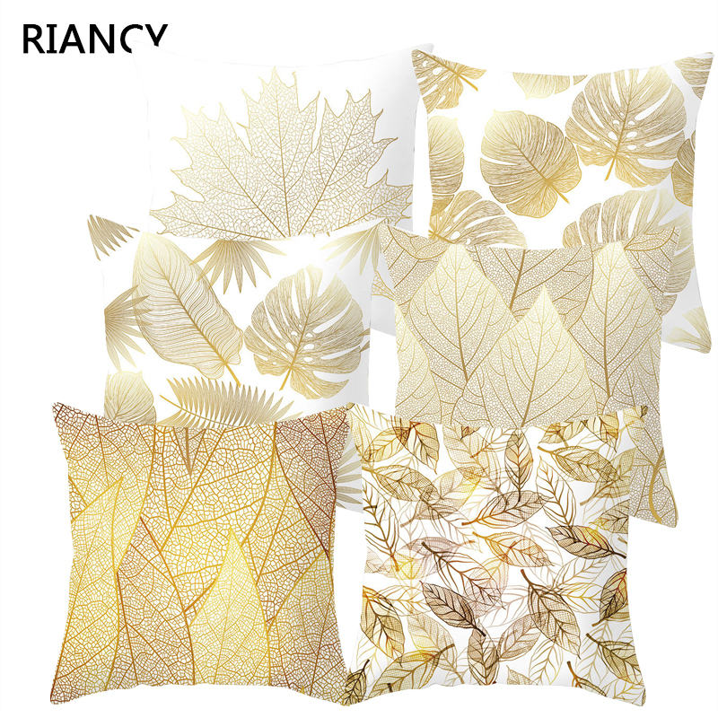 Golden Flowers Leaves Cushion Cover Polyester Throw Pillows Soft Decorative Pillowcase For Home Sofa Chair Pillow Covers 40816