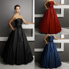 2015 New Design Strapless Satin Princess With Bow Bridesmaid Dress Juniors Modest Party Dresses For Juniors Vestido De Festa
