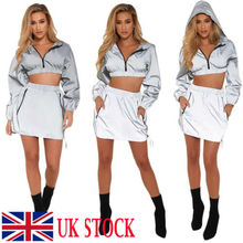 2019 New Sexy Women  Bodycon Reflective Zip Crop Top Full Sleeve Solid V-Neck Set Club-wear Sport-suite Party Dress стоимость