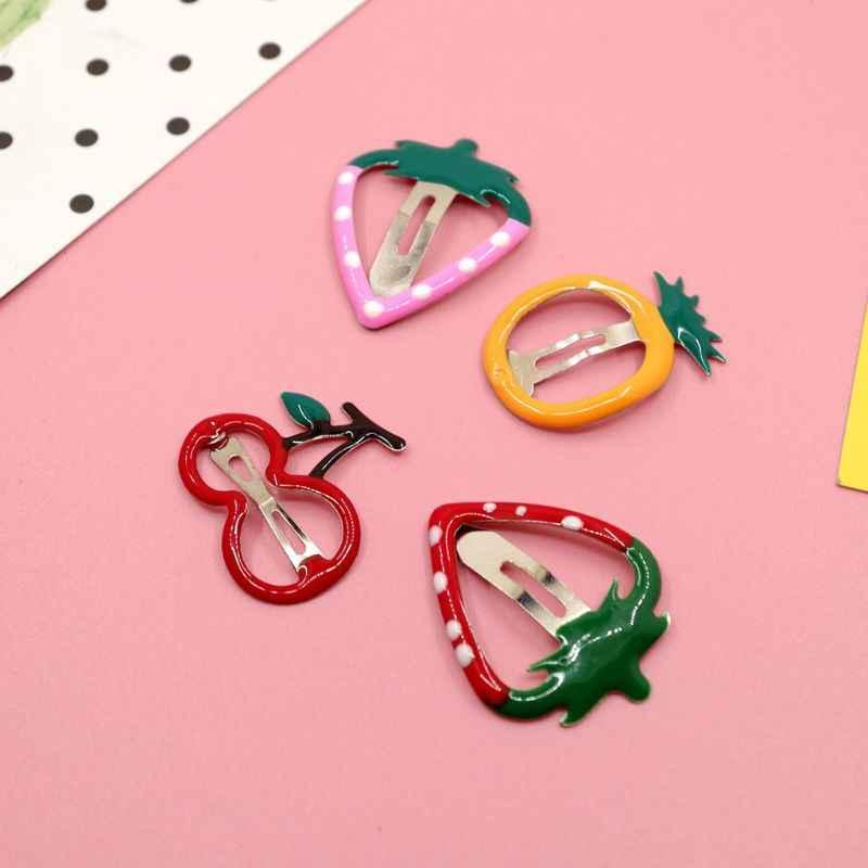 Grampos de cabelo, grampos de liga de metal para crianças, bb, coloridos, desenhos animados, frutas, festa