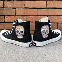 Wen Design Mexican Style Skull Tattoo Canvas Skateboard Shoes Men Black High Top White Women Sneakers Athletic Shoes Plimsolls