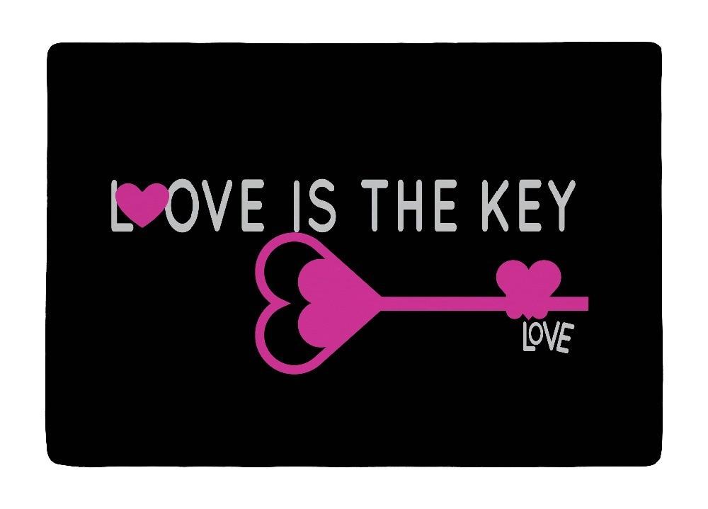 Floor Mat Black Rose Pink Love Key In style Print Non slip Rugs Carpets For font