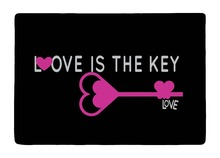 Floor Mat Black Rose Pink Love Key In style Print Non-slip Rugs Carpets For Indoor Outdoor Living Room