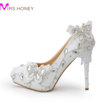 Sparkling Butterfly Wedding Shoes Crystal Bride Dress Shoes Elegant Women Dress Pumps Graduation Party Prom Shoes Platform Pump