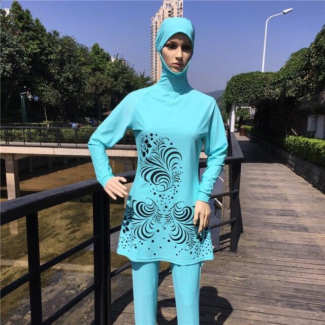 d53ac5a0d6a50 Hajib Muslim Swimsuit Plus Size Islamic Swim Wear Full Cover Long Modest  Swimwear for Muslim Girl Women