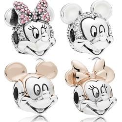 925 Sterling Silver Bead Minnie Mickey Portrait Charm Fit Original Women Pandora Necklace & Bracelet Gift DIY Jewelry