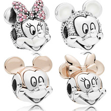 925 Sterling Silver Bead Minnie Mickey Portrait Charm Fit Or