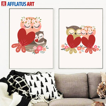 Lovely Owl Watercolor Nordic Posters And Prints Wall Art Canvas Painting Animal Pop Pictures For Living Room Decor