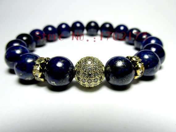 New Design Men S Beaded Bracelet With Blue Lapis Lazuli Bead And Disco Zirconia Cubic Ball Por Unique For In Strand Bracelets From Jewelry