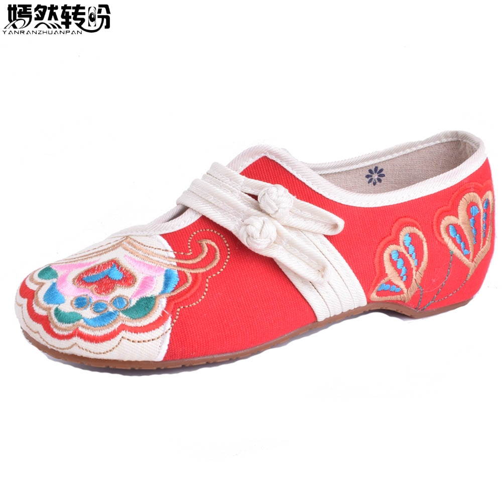 2017 Hot Sale Women's Shoes Old Peking Flat Heel With Embroidery Soft Sole Casual Shoes Woman Dance Ballet Falts Size 35-40 peacock embroidery women shoes old peking mary jane flat heel denim flats soft sole women dance casual shoes height increase