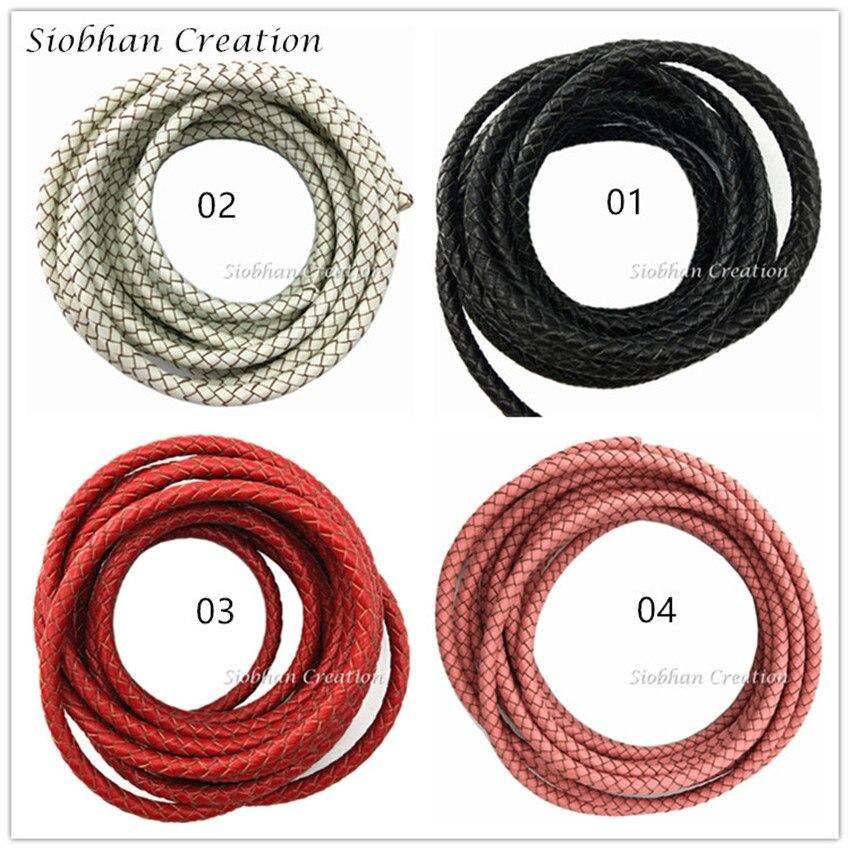 Sur la Fit 5mm 1 Mètres Véritable Tressé En Cuir Cordon Bord De Coupe Réel En Cuir Artisanat Perles Accessoires Laçage Tissé corde
