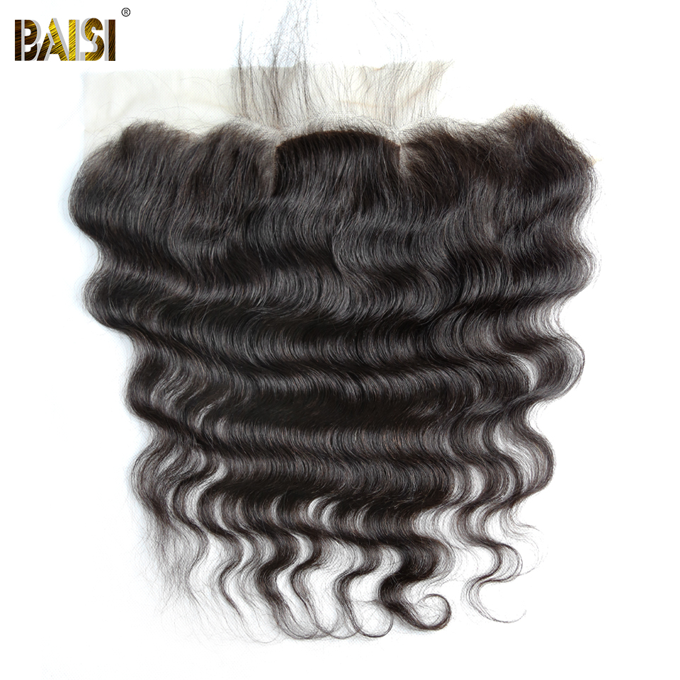 BAISI Body Wave Brazilian Virgin Hair Silk Base Frontal Size 13*4,Natural Hairline Bleached Knots With Baby Hair 10-18inch