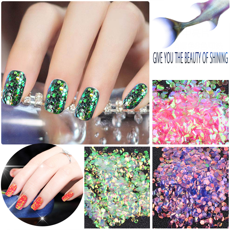 MIOBLET 3g Colorful Shining Fish Scales Nail Sequins DIY Glitter Tips Nail Art Manicure Decoration Glitter Mermaid Hexagon Sheet